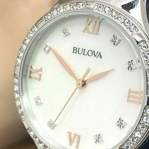 Bulova Womens Crystals MOP Dial Silver Tone 96L264